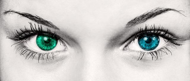 modrá a zelená duhovka